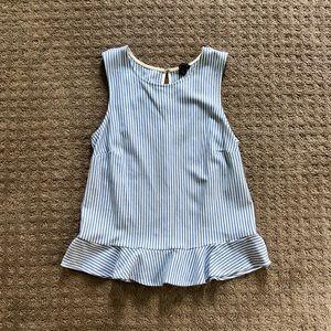 Ann Taylor Peplum Top, Blue/White Stripe - XS
